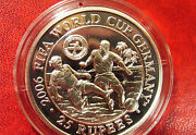 2006 Seychelles Large Proof Silver 25 Rupees World Cup Soccerfootball