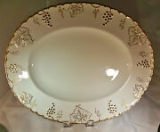Royal Crown Derby Vine Gold Grapes And White 17-1/4 Long Oval Serving Platter