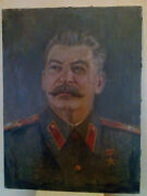60x79 Rare Russian Painting Portrait Oil Canvas Stalin Wwii Original Frame 40s