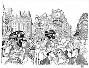 Al Hirschfeldand039s Piccadilly Circus Hirschfeld Family Hand Signed Le Lithograph