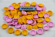 Lego - Yellow And Pink Dish Plates - Bowl Platter Dinner Cook Food Kitchen Lot