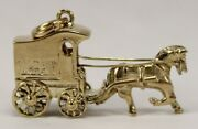 J.l Kraft Horse And Carriage Charm In 10kt Yellow Gold