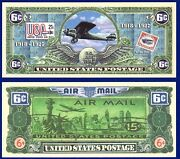 1-air Mail 6 Cent Us Postage Stamp Dollar Bill Collectible-novelty Money X 2