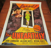 1957 The Unearthly One-sheet Movie Poster Linen Backed Fn+ John Carradine 57/403