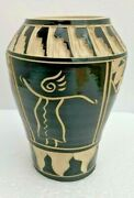 Earth To Art Wheel Thrown Hand Carved Signed Pottery 6 inch vase
