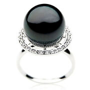 Pacific Pearls® 14mm White Gold Diamond Tahitian Black Pearl Rings Wedding Gifts
