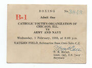 1933 Boxing Ticket Army And Navy Vs Chicago Youth At Submarine Base Canal Zone