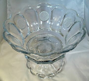 Fostoria Coin Crystal 1372 1-1/2 Gallon 14 Diameter Punch Bowl And Footed Base