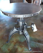 Set Of 2 Industrial Bistro Crank Round Table 22 Antique Metal Finish Very Cool