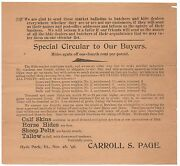 1896 Advertising Circular For Hides And Calf Skins Carroll Page Hyde Park Vt