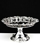 Magnificent Milan Italy Sterling Silver Large 12 Floral Cake Pie Platter Stand