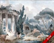 Seesaw Amid Ancient Roman Garden Ruins Italy Painting Art Real Canvas Print