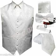 White Xs To 6xl Tuxedo Suit Dress Vest Waistcoat And Bow Tie And Necktie And Hanky