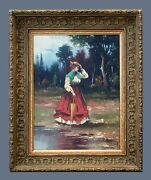 Lady In A Garden - Lovely Original Antique Oil Painting On Canvas And Signed