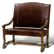 44.5 W Settee Brown Italian Leather Hand Carved Solid Oak Frame Brass Nails