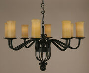 Cantabria 8 Lights Chandelier Iron With Stone Onyx Shades Colonial