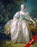 Young 1700andrsquos Woman In Large White Satin Dress Painting Art Real Canvas Print