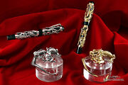 Montegrappa 1995 Dragon Le Gold Fp And Silver Fp Matching Set With Inkwells