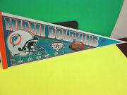 Nfl- Miami Dolphins Logo @ 75 Years Of The Nfl Pennant 12x30