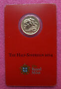 2014 'i' Royal Mint India Half Sovereign With Mint Mark Enclosed In Certi-card