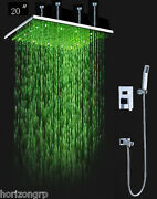 Luxury Bathroom Shower Set With 20 Rainfall Sq Led Shower Head, Double-function