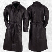 Mens Long Black Leather Button Front Trench Over Coat Full Length Duster Jacket
