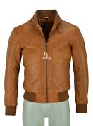 Classic Bomber Leather Jacket Menand039s 70and039s Quilted Front Real Leather Tops Jacket