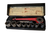 Antique Ratchet Socket Wrench Set Box Accles And Pollock For British Classic Cars