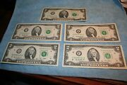 2 Dollar Frn Set 1976 + 1995 + 2003 + 2009 + 2013 And Newest Note Made 2017 Bep C
