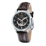Cccp Cp-7011-03 Menand039s Shchuka Embossed Leather Band Day Black Dial Gmt Watch
