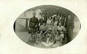 Wwi Era Outdoor Wine Party With Women Austrian Soldiers - Real Photo Postcard