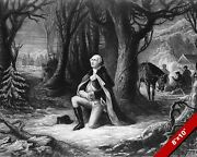 George Washington Prayer At Valley Forge Painting On Real Canvasart Print