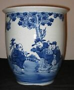 Chinese Porcelain Blue And White Planter Pot19th Century Nr.