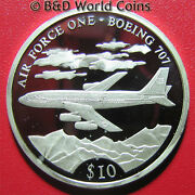 2000 Liberia 10 Silver Proof Boeing 707 Plane United States Air Force One W/coa