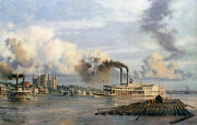 John Stobart Print - Baton Rouge The Steam Packet City Of Baton Rouge In 1881