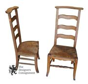 2 Antique Ladderback Butler Chairs Clothing Valet Wicker Seat Arts + Crafts