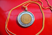Italian 500 Lire Classic Coin Pendant On A 24 18k Gold Filled Snake Chain