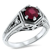 Genuine Red Ruby Antique Art Deco Design .925 Sterling Silver Ring,     509