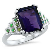 Art Deco Antique Style 925 Sterling Silver 3 Ct Lab Amethyst And Opal Ring 646
