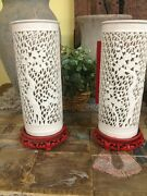 Chinese Lights 1930and039s Porcelain Glass Chinese Bamboo Silhouette Lanterns