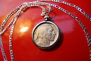 Pre And03938 Or Earlier Usa Buffalo Indian Head Nickel On A 925 Sterling Silver Chain