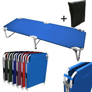 Portable 24.5 W Military Cots Fold Up Bed Hiking Travel Camping - Blue+free Bag
