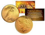 1920s Au/bu Peace Silver Dollar Us Coin 24k Gold Plated In Coin Capsule And Cert