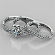 2.46ct Princess Cut Engagement Ring With 2 Matching Bands In 14k White Gold