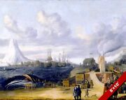 1600's Whale Oil Factory Of Norway Whaling History Ocean Art Real Canvas Print