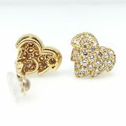French Pave Diamond Leaf Earrings In 18k Yellow Gold 2.00 Cttw - Hm1566sr