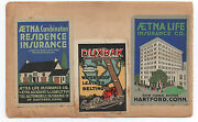 Eight 1915 Ppie Worlds Fair Advertising Stickers Aetna Life Insurance Carnation