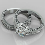 1.70ct Cushion Cut Engagement Ring And Matching Band Available In 14k White Gold