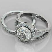 2.89ct Round Cut Engagement Ring And Matching Band Available In 14k White Gold