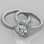 2.16ct Cushion Cut Engagement Ring And Matching Band Available In 14k White Gold